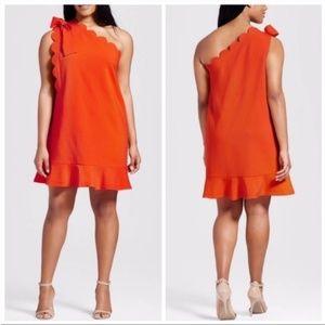 Victoria Beckham Orange One-shoulder Dress Size L
